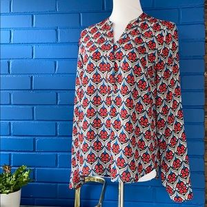 Red blue white floral blouse